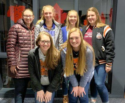 Members who competed were (back row) Laura Wuebker, Emma Peters, Lexie DeMange, Cayla Batten, (front row) Lydia Grillot and Mallory York.