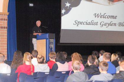 Gaylen Blosser, a U.S. Army Vietnam veteran, shared his story with Franklin Monroe students.