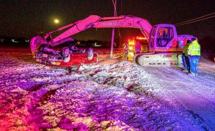 Icy roads are believed to be the cause of the a rollover crash on Tuesday evening.