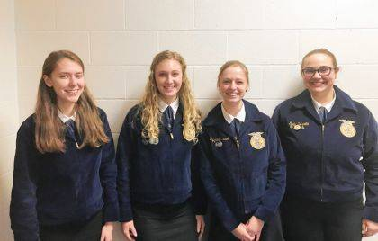 Versailles FFA members who competed In District 5 FFA Job Interview were Kennedy Hughes, Emma Peters, Jaylynne Trissell, and Emily Delzeith.