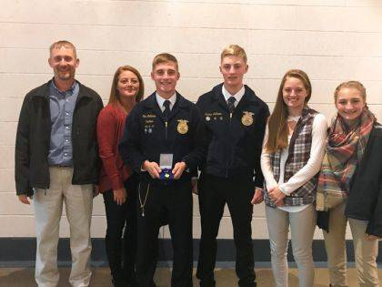 Cole Luthman was recognized as a Top 4 National FFA Poultry Finalist at the 92 National FFA Convention, Cole is picture with family Randy, Danielle, Josh, Caitlin and Jenna Luthman.