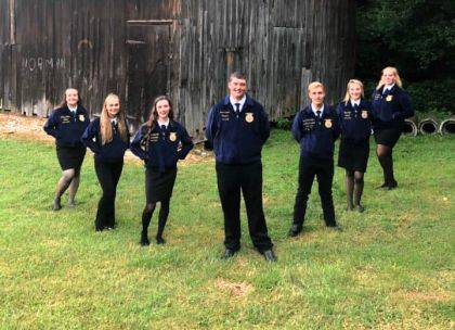 Officers are Sentinel Brittany Ployer, Treasurer Katelyn Redick, Vice President Keara Knepshield, President Ross Dapore, Second Vice President Josiah Kirchhofer, Reporter Peyton Ryan, and Student Advisor Audra Burger.