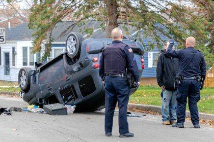 The driver of the Chevy HHR was arrested on suspicion of DUI following this rollover crash.