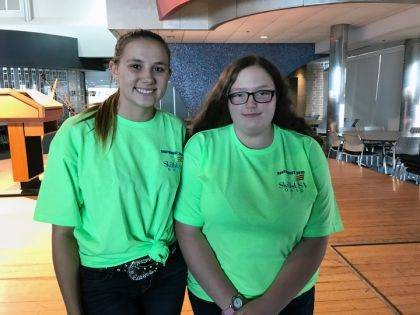 MVCTC SkillsUSA Chapter 4 Officers Cadance Davis–Grilliot (Construction Carpentry/Tri-Village) and Laney Radford (Construction Carpentry/Milton-Union).