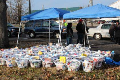 One hundred baskets and turkeys were ready to be given to area residents at the Darke County Fairgrounds. Another 100 were given out at Solid Rock Apostolic Church.