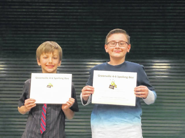 Greenville held its 4-6 grade spelling bee Tuesday with 41 participants competing in 8 rounds. Sixth-grader Devon Mason (right) and a student in Jen Staugler's language arts class, came out the winner by correctly spelling the word 'stirrups.' The runner-up was fourth-grader Jensen Oswald, a student in Corrie Holm's language arts class.