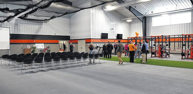 Pictured is the new athletic facility before tours and a ribbon-cutting for the new multi-purpose addition at Arcanum-Butler High School on Saturday.