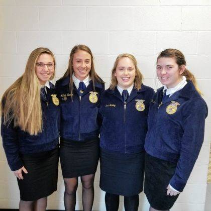 Arcanum MVCTC FFA Members competing in the District Contest were Gracie Garno, Madelyn Fearon, Anna Loxley and Zoe Monnin.