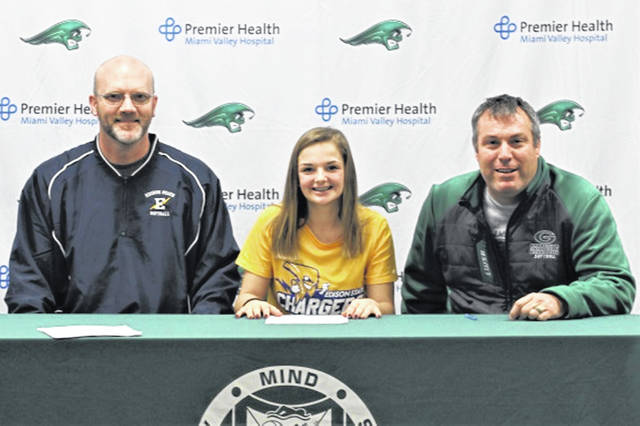 Greenville Lady Wave, Layne Claudy signs to play softball for the Edison State Lady Chargers. (L-R) Edison State coach Brent New , Claudy and Greenville coach Jerrod Newland.