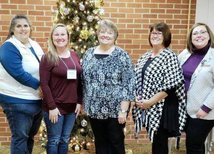 Christmas Meeting BPW committee members shown with the Fish director are Maria Moore, Desteni Mason, Krista Cutarelli of Fish, Krista Heath and Angie DeGideo.