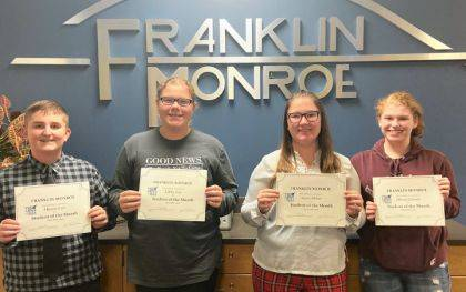 Recognized in December were Mason Lair, Libby Fox, Kerri Miller and Olivia Graves.