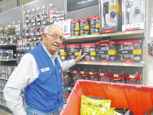 Glenn Eley, at age 99, still works part-time at Orme Hardware in Arcanum, and he will be featured in the upcoming Christmas parade on Dec. 14 as the parade marshal.
