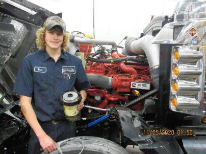 Versailles High School Senior Evan Rammel is highlighted as the Versailles Agriculture Education Capstone Student of the Month for the skills and success at Pohl Transportation, Inc.