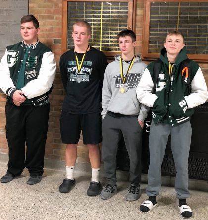 Four of Greenville's wrestlers finished in the top four at the season opener. Shown are Colton McCartney, Tytan Grote, Andrew Stachler, and Logan Thatcher.