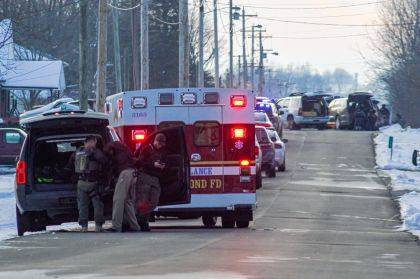 A slew of law enforcement officers responded to the call of shots being fired in Lynn, Ind. The initial call was due to a domestic disturbance.