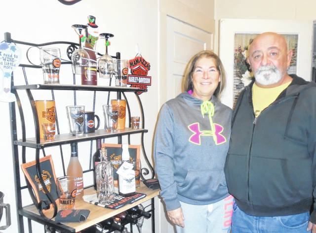 Darlene and Joe Mamazza included their Harley-Davidson items in their Christmas decorations this year.