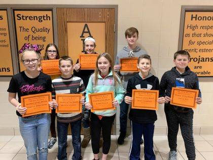 "<p class=""body"">ARCANUM – Arcanum-Butler Middle School congratulates its November Students of the Month. Shown are (back row) Anna Stump, Isabella Harleman, Payton Stout, (front row) Isabella Armstrong, Weston Stephens, Eliana Fessler, Wyatt Schwartz, and Carter Rice."