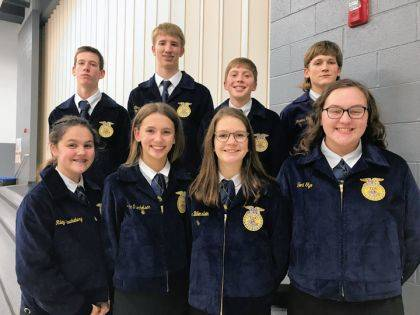 The Versailles FFA eighth grade Novice Parliamentary Procedure competed at the District 5 contest and included (back row) Levi Barga, Alex Gilmore, Gabe White, Travis George, (front row) Riley Kruckeberg, Dakota Overholser, Zoe Billenstein, and Tori Tyo.