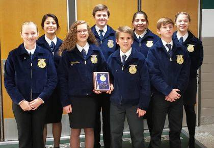 Pictured is the Novice team heading to state. Shown are (front row) Paytyn Hiestand, Krista Miller, Brandon Miller, Chastin Daniels, (back row) Nedi Velasco, Aron Hunt, Gabby Elizondo, Lilly Severance.