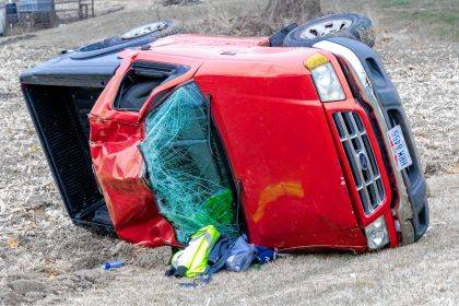 A 16-year-old teen failed to negotiate a curve and rolled her car.