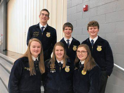 The Versailles FFA District 5 Varsity Parliamentary Procedure Team includes (back row) Caden Buschur, Luke Billenstein, Dalton Hesson, (front row) Breanna Nieport, Cayla Batten, and Haley Mangen.