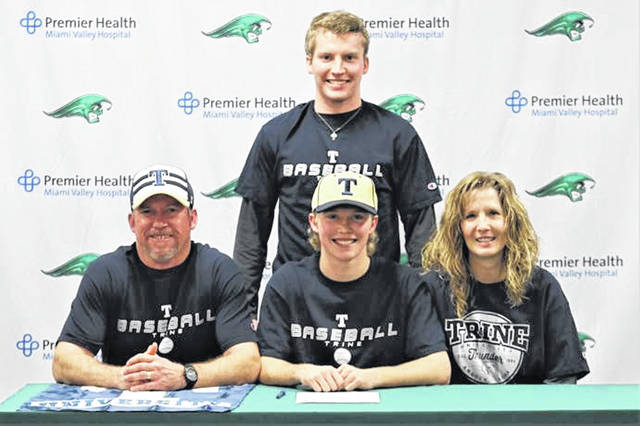 Tyler Beyke signs to play college baseball for Trine University. (L-R front) Jim Beyke (father), Beyke, Michelle Beyke (mother). (Back) Brandon Beyke (brother).