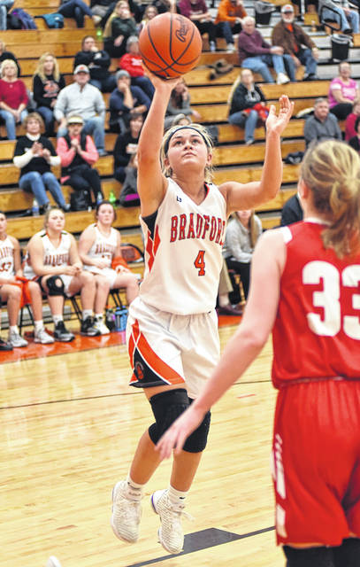 Austy Miller puts up a shot for the Lady Railroaders in non-conference game with St. Henry.