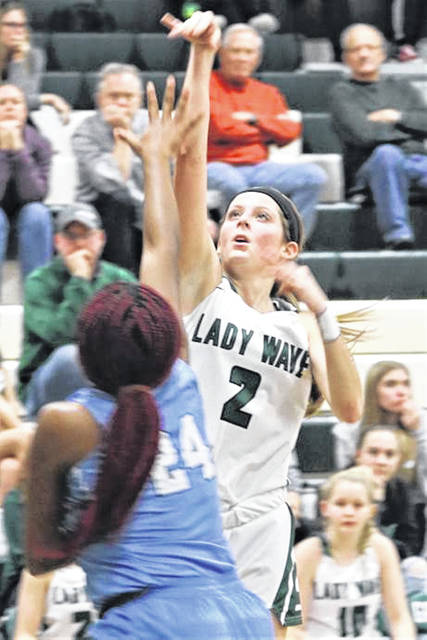 Haleigh Behnken drains one of her five 3-pointers for Greenville in the Lady Wave's MVL win over the Fairborn Lady Skyhawks.
