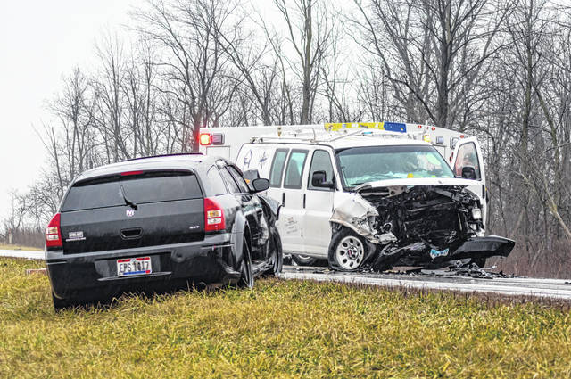 A head-on crash closed U.S. 127 for more than an hour Friday afternoon. Both drivers were treated at the scene for minor injuries.