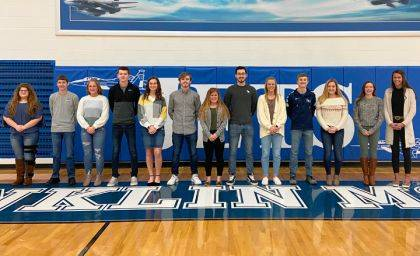 Shown are Melanie Clement, Colton Beatty, Emma Hein, Brendan Hosler, Chloe McGlinch, Brydon Diceanu, Maddie Stacy, Jarod Hegemier, Chloe Peters, Logan Garber, Audrey Cable, Keara Knepshield, and Corina Conley. Not pictured are Zach Garber, Dalton Goubeaux, and Caden Goins.