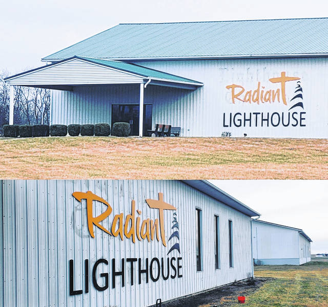 New signage went up on the exterior of the former Lighthouse Christian Center Church prior to the Sunday service, where the new church, Radiant Lighthouse, was launched, combining the congregations of Radiant Church and Lighthouse Christian Center.