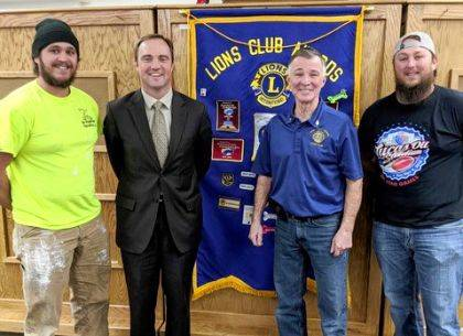 Pictured are helper Jarrod Ramos, Union City Mayor Chad Spence, Lion Larry Amspaugh, and helper Kyle Ramos.