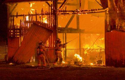The barn fire lit up the sky in the southwestern part of Darke County on Friday evening.