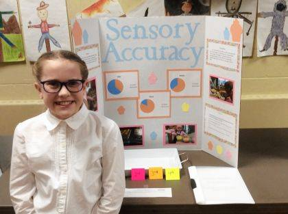 GREENVILLE – St. Mary's School recently held its annual Science Fair. The overall winner of the Science Fair was fifth grader Eva Kramer. She did her project on Sensory Accuracy. The top three finishers were: first place was Kramer; second place tie with Isabel Badell and Coleman McNulty; and third place was Trey Rammel. Shown is Kramer.