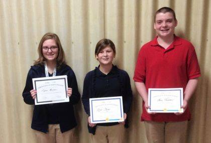 "<p class=""body"">GREENVILLE – St. Mary's School recently held its annual Geography Bee. The winner of the Bee was eighth-grader, Lydia Beisner. The top three finishers include Beisner; Lexie Shoop, second place; and Alex Hadden, third place."