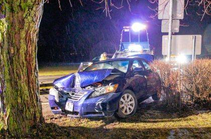 A juvenile driver failed to negotiate a curve and went off the roadway and struck a tree.
