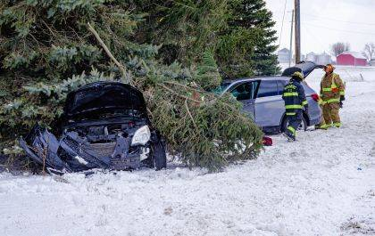 Rescue workers responded to two separate crashes on the same stretch of road within minutes of each other.