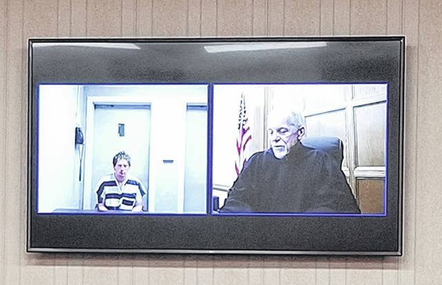 Bethany J. Royer-DeLong | Darke County Media Aaron J. Sanders made an appearance in Darke County Common Pleas Court via video from the county jail on Friday.