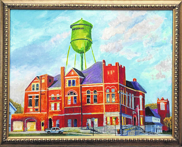 Courtesy Photo Roger Snell's painting, A New Day in Arcanum, an original acrylic of Arcanum's town hall and water tower, is on display at Sutton's Foods as part of a silent auction hosted by the Arcanum Preservation Society.