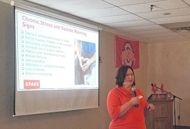 Bethany J. Royer-DeLong | Darke County Media Sarah Noggle, Paulding County OSU Extension Educator, Agriculture, and Natural Resources, spoke on the emotional health piece of agriculture during the 2020 Darke County Ag Outlook held at Romer's Catering on Friday.