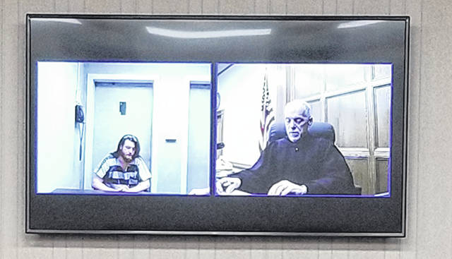 Bethany J. Royer-DeLong | Darke County Media Jared J. Philpot made an appearance via video as a fugitive of justice in Darke County Common Pleas Court on Tuesday.