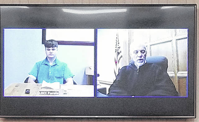 Bethany J. Royer-DeLong | Darke County Media Jordan P.D. Purdin, 19, of Vandalia, made an appearance in Darke County Common Pleas Court via video from London Correctional Institution on Thursday.