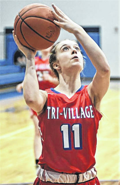 Lady Patriots Hallie Bell comes off the bench to score for Tri-Village in the team's tournament win over East Dayton Christian.