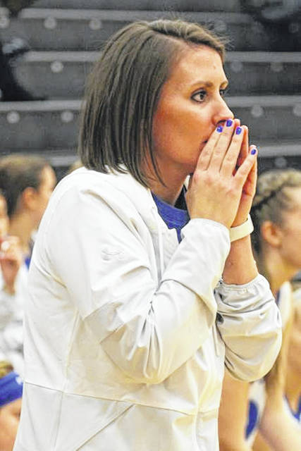 CCC Coach of the Year, Abbey Moore watches her Lady Jet play in an early season game with Clinton Massie.