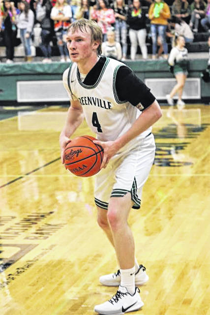 Alec Fletcher looks to make a Greenville pass in the team's Tuesday night win over Xenia.