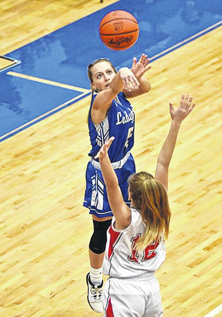 Belle Cable scores for the Franklin Monroe in the Lady Jets OHSAA tournament win over Tri-County North.