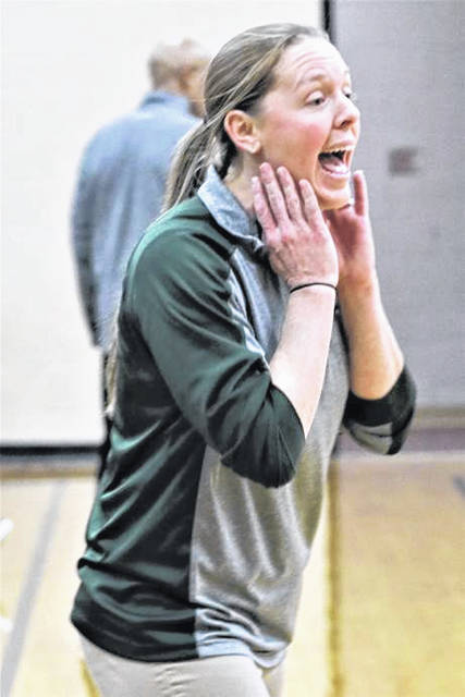 Greenville coach Rachael Kerns yells out instructions in the Lady Wave's second round DII tournament win over Kenton Ridge.