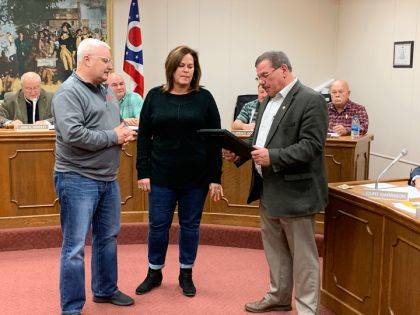 Mark and Gretchen Davis and Eikenberry's IGA were honored with a proclamation by Mayor Steve Willman at Tuesday night's council meeting.