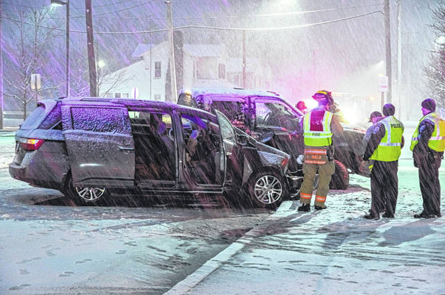 Snow covered roads lead to a two-car head-on crash Wednesday evening, sending one to Wayne Healthcare.