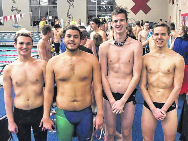 Greenville boys swim team members (L-R). Caden Lecklider, Carlos Badell, Josh Galloway and Aaron Suter.